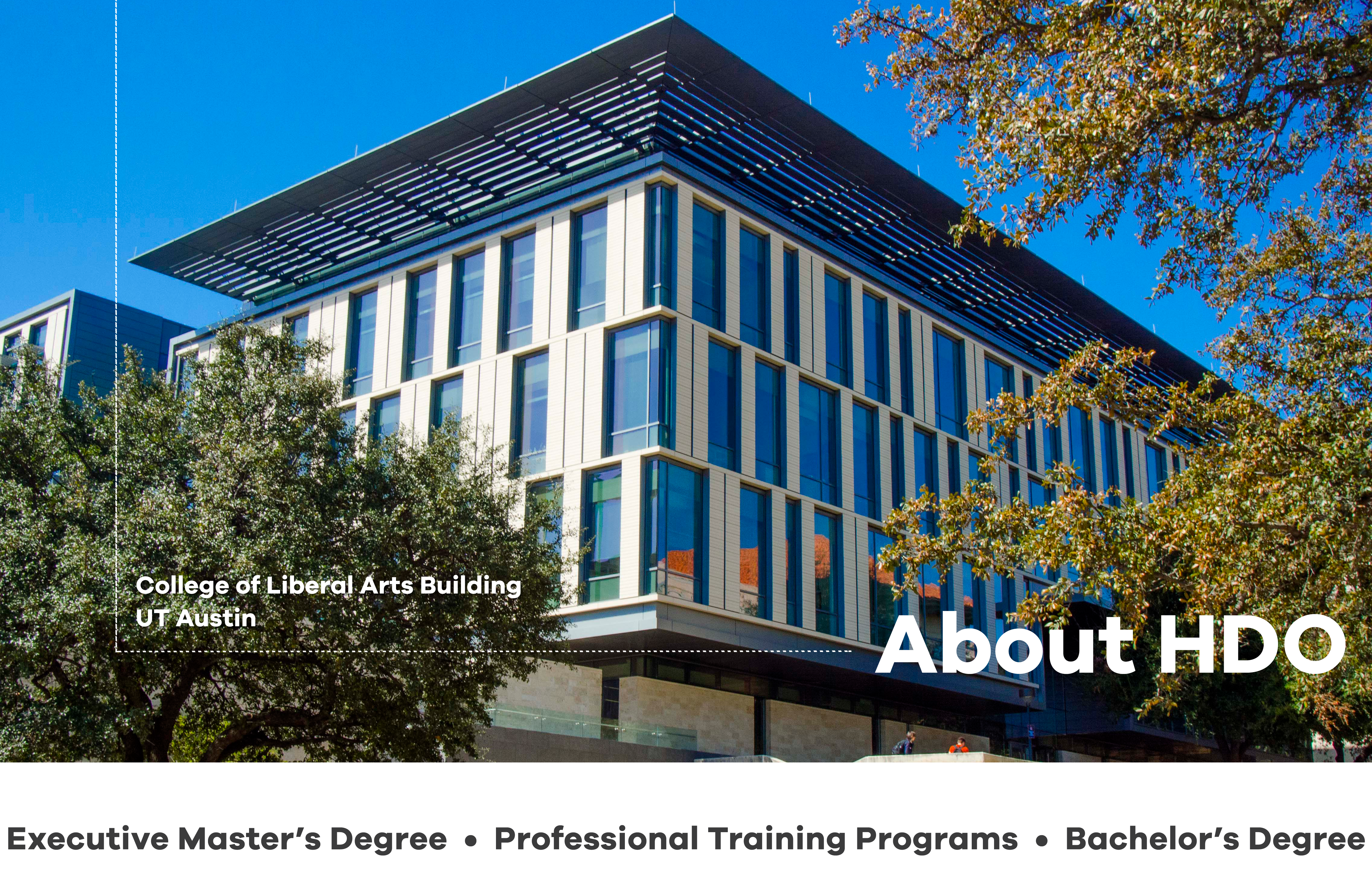Human Dimensions of Organizations (HDO): Higher Education at The University of Texas at Austin offering an Executive Master's Degree, Professional Training programs, and a Bachelor's Degree